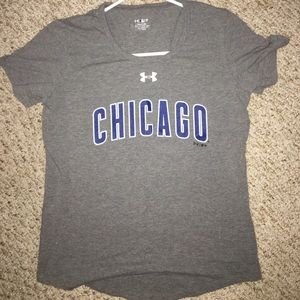 under armour women's gray chicago cubs t-shirt